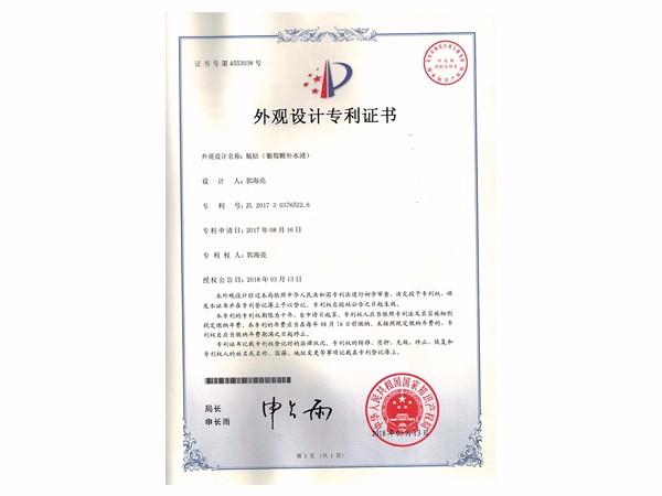 瓶贴(葡萄糖补水液)外观设计专利证书